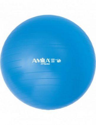 Μπάλα γυμναστικής & pilates (65 cm - 1,50 kg) με τρόμπα - Amila - μπλε