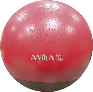 Μπάλα γυμναστικής AMILA GYMBALL 65cm κόκκινη με βάρος στη βάση
