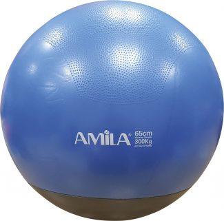 Μπάλα γυμναστικής AMILA GYMBALL 65cm μπλε με βάρος στη βάση