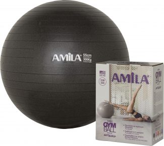 Μπάλα γυμναστικής & pilates (55 cm – 1.000 gr) με τρόμπα – Amila – μαύρη