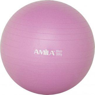 Μπάλα γυμναστικής & pilates (55 cm – 1.000 gr) με τρόμπα – Amila – ροζ