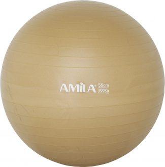 Μπάλα γυμναστικής & pilates (55 cm – 1.000 gr) με τρόμπα – Amila – χρυσό