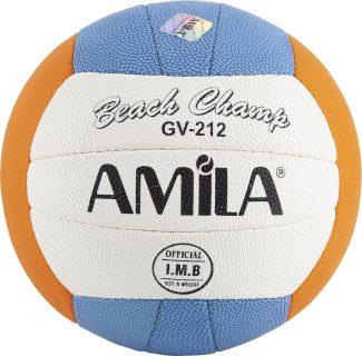 Μπάλα beach volley Amila GV212 No5 Ραφτή PU τρίχρωμη (Γαλάζιο/πορτοκαλί/άσπρο)