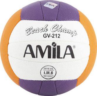 Μπάλα beach volley Amila GV212 No5 Ραφτή PU τρίχρωμη (Μωβ/πορτοκαλί/άσπρο)